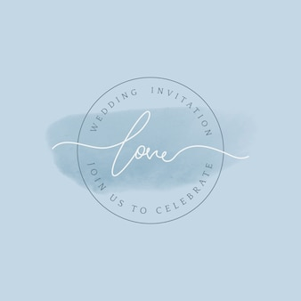 Love wedding invitation badge vector