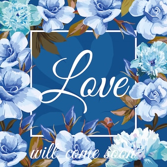Love with blue roses and frame