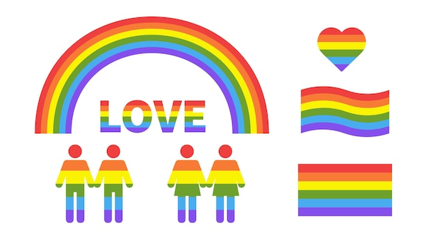 白い背景の上のlgbtqフラグのハートレインボーハートの形との愛フラグレズビアンと同性愛者のカップル
