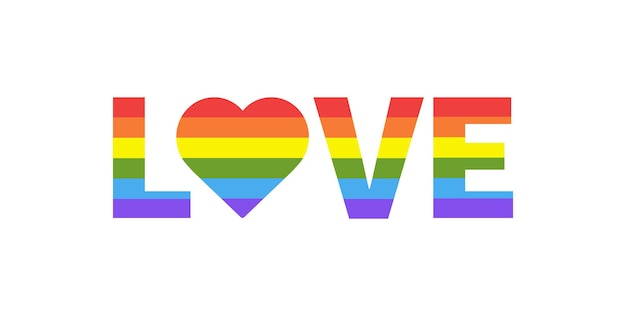 Love with heart rainbow heart shape in lgbtq flag on white background pride month