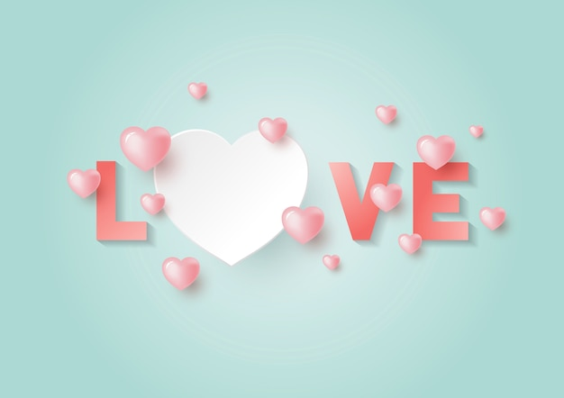 Love with hearts with copy space for valentine's day