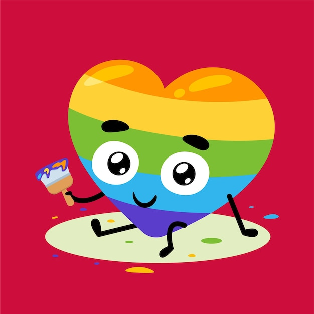 Love with the paintbrush. isolated vector illustration