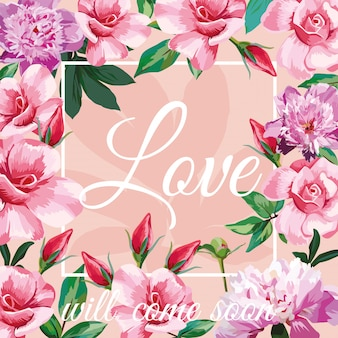 Love with pink roses and frame