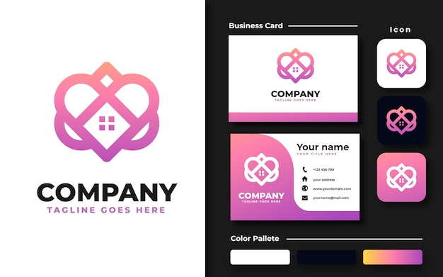 Love with roof house logo template and business card