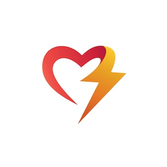 Love with thunder shape logo design