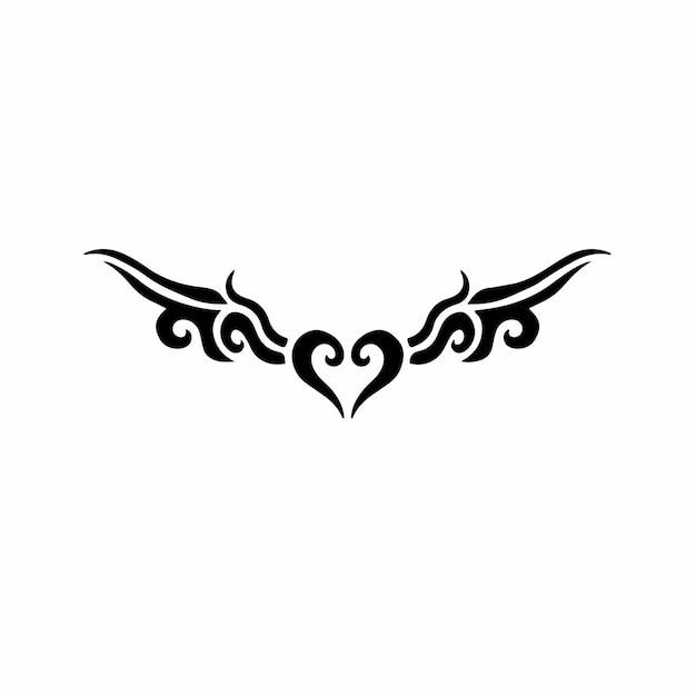 날개 기호 로고 부족 문신 디자인 스텐실 벡터 일러스트와 함께 사랑