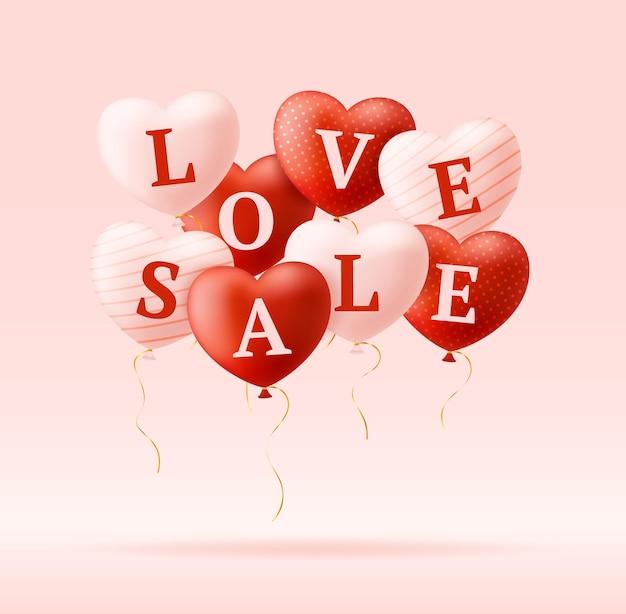 Слово любви и продажа на реалистичных сердцах. баннер дня святого валентина с розовыми и красными сердцами и любовью надписи.