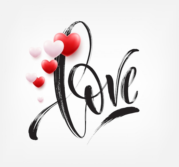 Love word hand drawn lettering with red heart. vector illustration