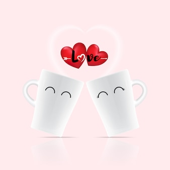 Love word on heart above two white cup