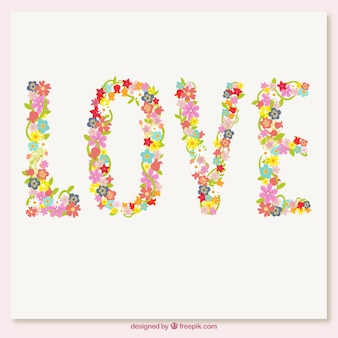 Love word made up of flowers