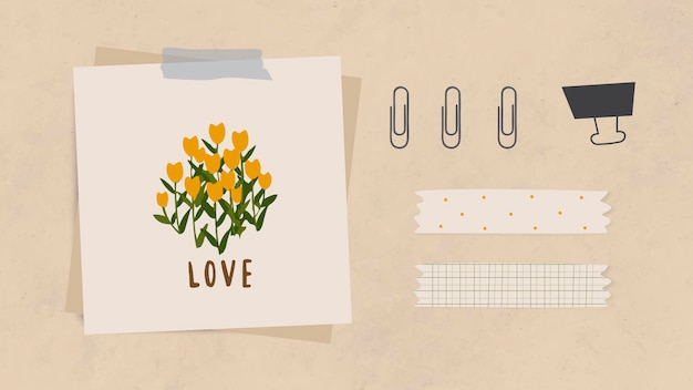 Love word message and flowers on notepaper with paper clips, binder clip and washi tape on light brown textured paper background vector