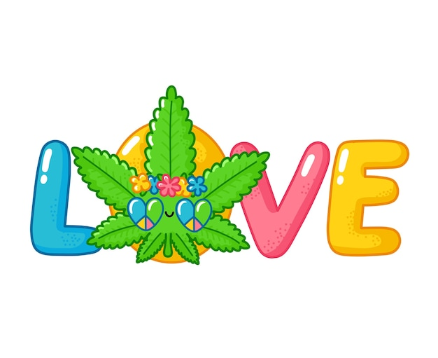 ワードプリントデザインが大好きです。かわいい面白い幸せな雑草マリファナの葉のヒッピーのキャラクター。フラットライン漫画カワイイキャラクターイラストアイコン。白い背景で隔離。医療大麻の概念