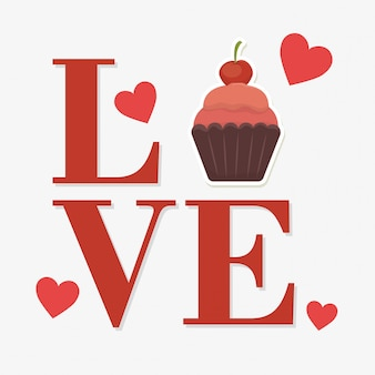 Love word with cupcake