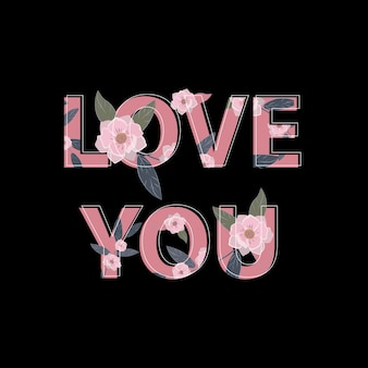 Love word with cute flower background
