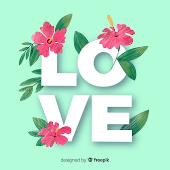 Love word with flowers and leaves