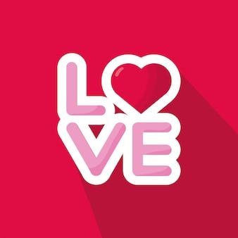 Любовное слово с сердцем день святого валентина на красном фоне