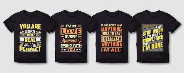 러브 워크 퍼펙트 타이포그래피 티셔츠 디자인 번들