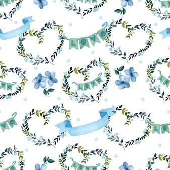 Love wreath watercolor seamless pattern on white background