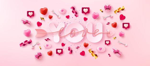 Love you card or banner with symbol of arrow love script over you word and valentine elements on pink background.