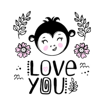 Love you. cute monkey greeting card. cartoon monochrome hand drawn sketch with handwriting text clip art