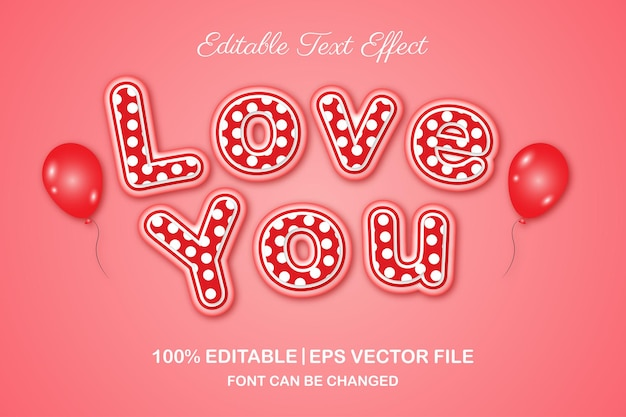 Love you editable text effect 3d style