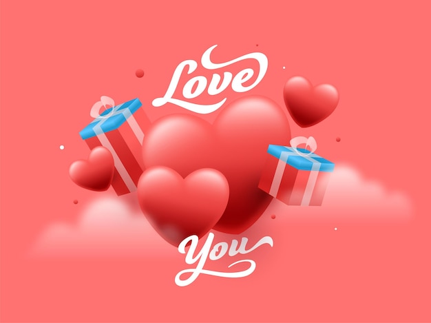 Love you font with 3d gift boxes and glossy hearts on red background.