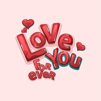 Love you forever text with hearts on pastel pink background.