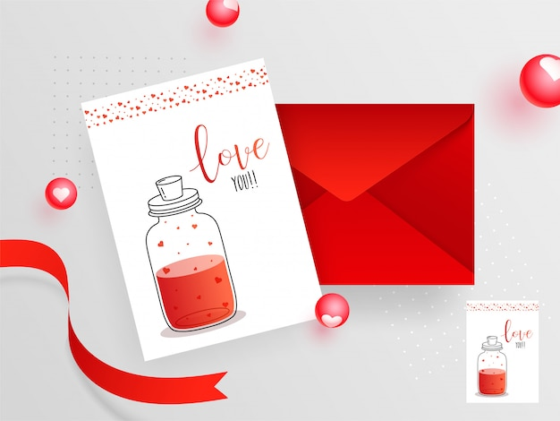 Love you greeting card design with envelope for celebration