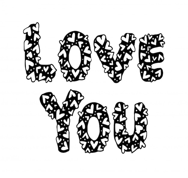 Love you hand drawing with ornament heart shape