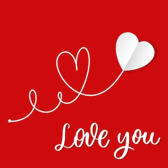 Love you. hand drawn white paper heart with lettering  vector.