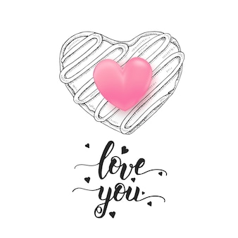 Love you - handwritten motivational quote, hand drawn doodle donut isolated on white and 3d pink heart.