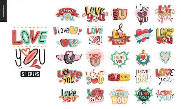 Набор современной девочки love you letter logo