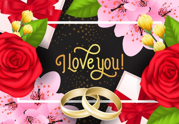 Love you lettering with flowers and rings