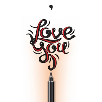 Love you lettering