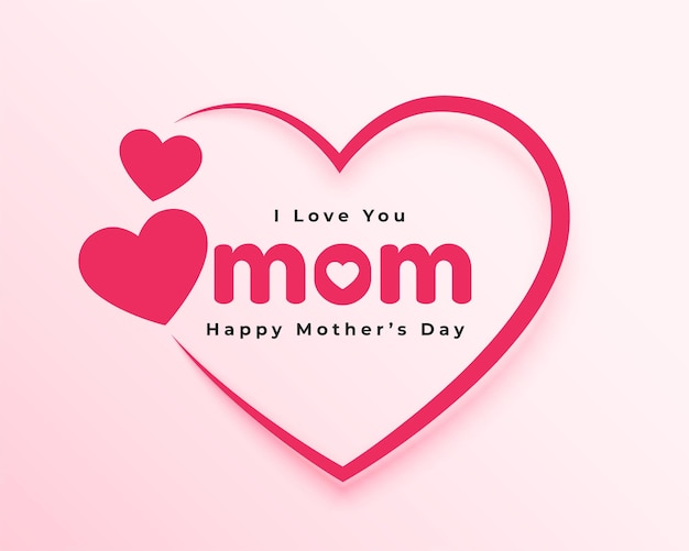 Love you mom hearts card for mothers day