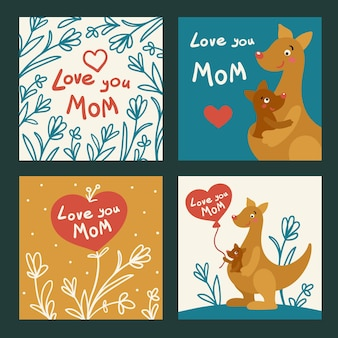 Love you mom. set of cute cards for mother with floral frame, hearts, hand lettering and cartoon characters. vector illustration in hand-drawn style.