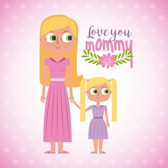 Love you mommy floral card