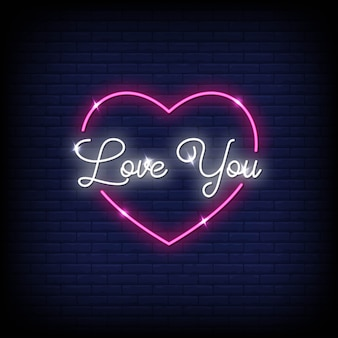 Love you neon signs style text vector