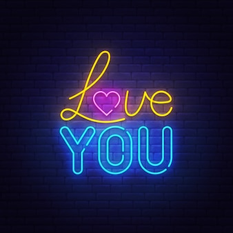 Love you neon text