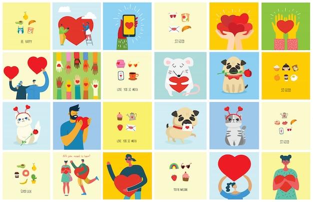 정말 사랑합니다 발렌타인 손으로 그린 낙서 만화 스타일과 현대적인 평면 디자인에 로고를 사전했다.