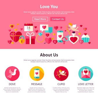 Love you website design. flat style vector illustration for web banner and landing page. happy valentine day holiday.
