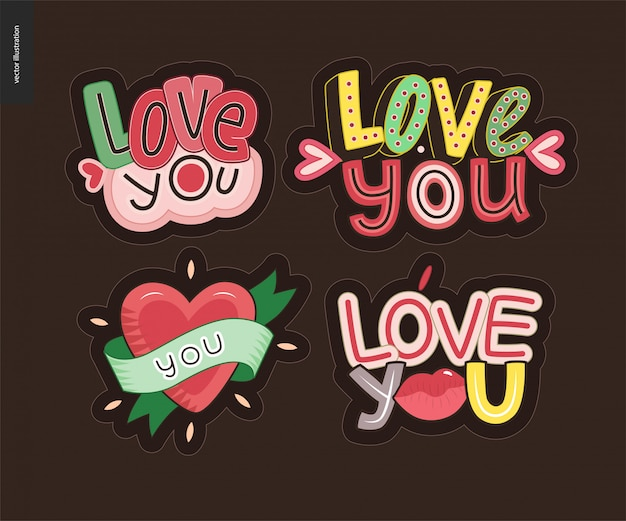 現代的なガーリーlove youの文字ロゴのセット