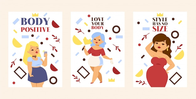 Love your body, body positive, style has no size set of posters, cards plus size girls in elegant dress and casual clothing.
