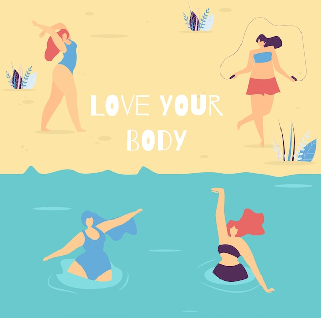 Love your body motivational lettering woman banner