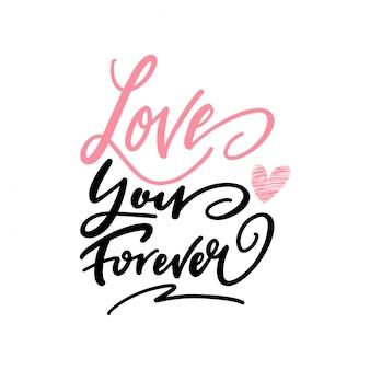 Любовь навсегда приветствие текст векторные иллюстрации