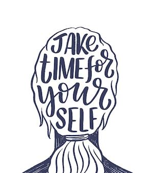 スローガンのレタリングを自分で愛してください。ブログ、ポスター、印刷物のデザインの面白い引用。セルフケアに関する現代書道のテキスト。ベクトルイラスト