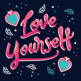 Love yourself lettering with hearts and leaves