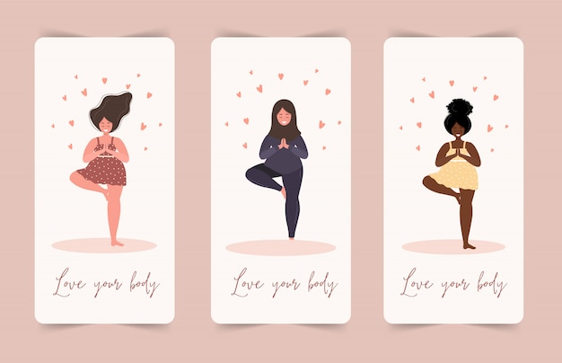 Love yourself. love your body concept. girl healthcare skincare. take time for your self. calm women in dress with hearts on white background. pastel cute soft colors. illustration. flat style.
