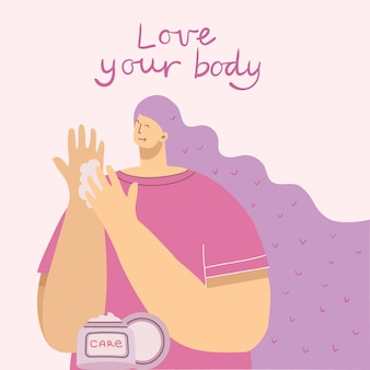 Love yourself, love your body woman background. vector lifestyle concept card with text don t forget to love yourself in the flat style