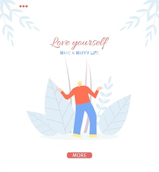 Love yourself motivate people flat style page